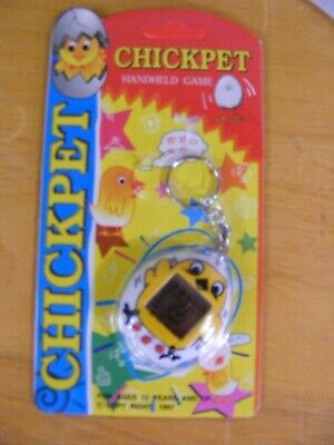 1997 Chick Pet Virtual Hand Held Game Chicken Keychain Toy