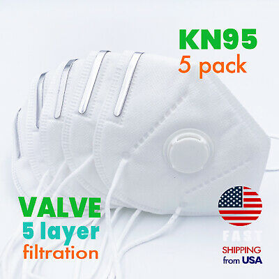 [5 PACK] KN95 Protective Face Mask with Exhalation VALVE Safety Respirator