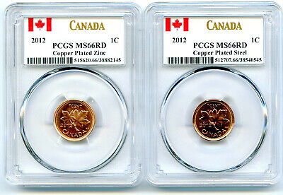 2012 Canada Cent Pcgs Ms66 Rd Zinc & Steel Two Coin Set Last Year Of Issue Wow!