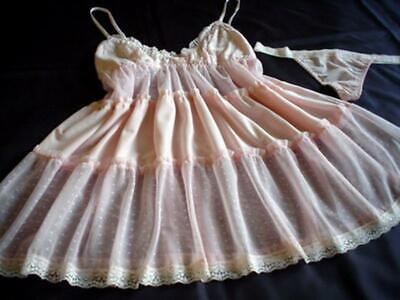 Womens Babydoll Nightie Thong Set XL Pink Soft Lacy Flouncy Chemise Lingerie