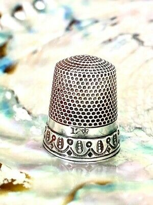 Antique Sterling Silver 12 Thimble Henry Muhr and Sons with Beautiful Design!!