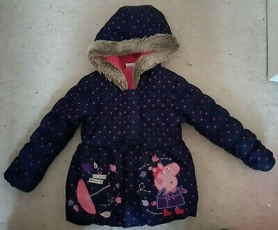Girls DEBENHAMS Peppa Pig Dark Blue Coat w/ Pink Spots & Fur Line Hood (3-4 yrs)