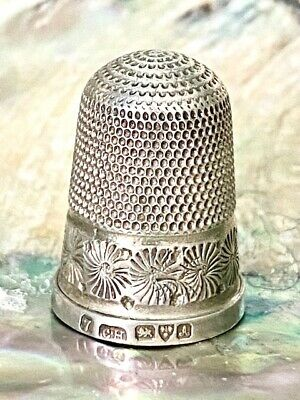 Antique Charles Horner Silver Thimble Daisy Flower Pattern Chester 1901