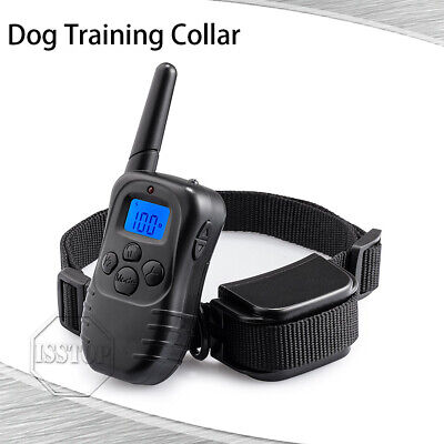 Dog Training Shock Waterproof Bark Collar W/ Remote Rechargeable Hunting Trainer