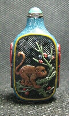Chinese Glass Delicate Carve Colorful Monkeys Snuff Bottle-----