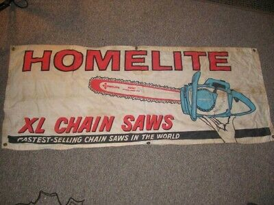 "Vintage ~ Homelite XL Chainsaw Cloth Banner ~ Advertising 53"" x 21"""