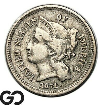 1871 Three Cent Nickel, Better Date Collector Coin