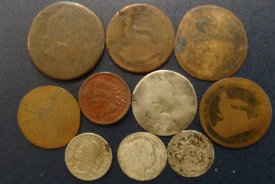 10 Different World Coins - 4 Silver - Old and Worn -