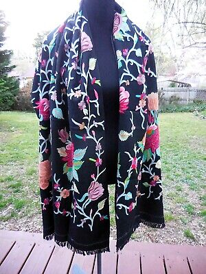 Stunning Vintage Embroidered Piano Shawl ~ Wrap ~ Runner ~ Multi Color Floral