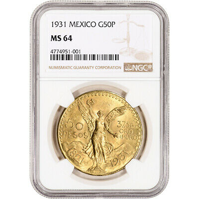 1931 Mexico Gold 50 Pesos - NGC MS64