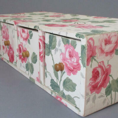 """Vintage WALLPAPER Covered 25"""" STORAGE Chest Cabinet 4 Drawers PRETTY PINK ROSES"""