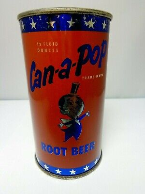 Can-A-Pop Root Beer Flat Top Soda Pop Can Hutchinson, Kansas  Silver Face