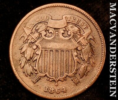 1864 Two Cents-Very Fine Scarce Better Date #P8118