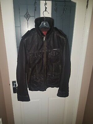 Superdry leather jacket Distressed Vintage Red Label Small