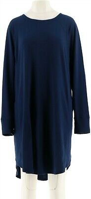 Cuddl Duds Comfortwear French Terry Long Slv Lounger Navy L NEW A293084