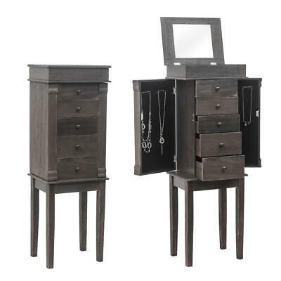 Jewelry Cabinet w/Drawers&Mirror Armoire Storage Stand Chest Organizer Christmas
