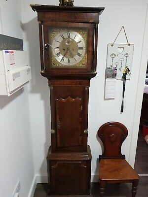 18th century longcase clock 8 day movement brass dial signed moore london
