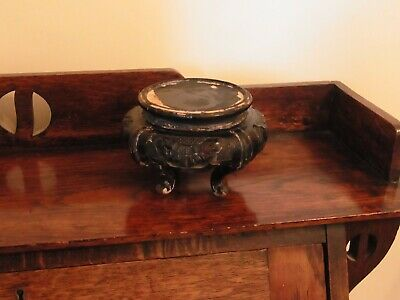 Vintage Oriental Chinese Carved Pierced Wooden Stand Base Cabinet Display Plinth