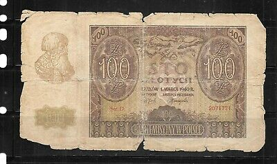 Poland #127 1940 100 Zlotych  Ag Circ Old Antique  Banknote Note Paper Money