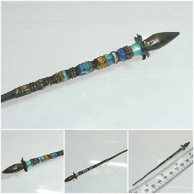 Antique Japanese Chinese Silver Enamel Hair Ornament Hairpin Slide Lotus Flower