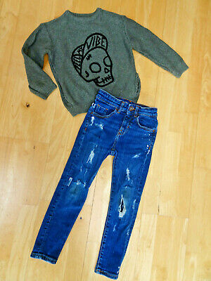 ZARA boys 2 piece skinny leg jeans & jumper sweater AGE 6 YEARS EXCELLENT COND