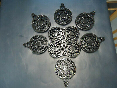 job lot of 7 new Vintage Black cast iron trivet pan pots stand collection only