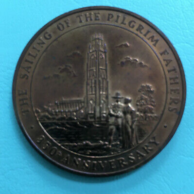 350th Anniversary Sailing Of The Mayflower, And Pilgrim Fathers  Medallions .