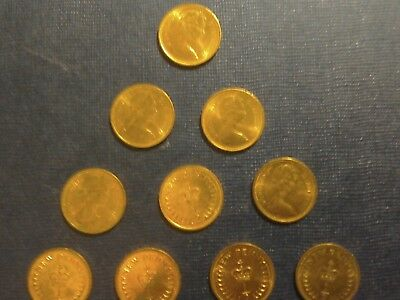 English Coins.10 x 1/2 New Penny 1971.Circulated but very Bright.