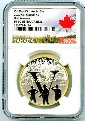 2020 Canada 1Oz Silver Ngc Pf70 Uc Gilt 75Th V-E Day Anniversary First Releases