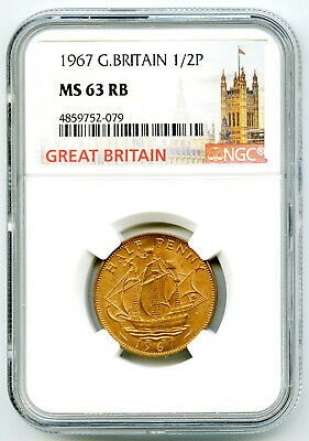 1967 Great Britain 1/2 P Half Penny Ngc Ms63 Rb Last Year Of Issue Of Halfpenny