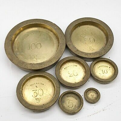 Vintage Set Of Rare Brass Gold Sovereign Coin Weights Avery Banking