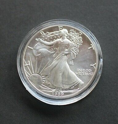 1989 US American Silver Eagle Brilliant Uncirculated Bullion Coin, From New Roll