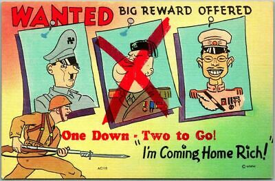 "Vintage WWII 1940s ""WANTED"" Linen Postcard w/ Mussolini Crossed Out - Unused"
