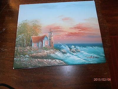 Lighthouse by the Sea Sunset Oil on Canvas Signed Duggart ? Unframed  10 x 8