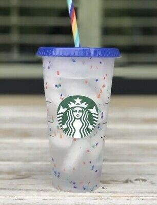 Starbucks CONFETTI Color Changing Cold Cups 24oz Cup Rainbow Straw 2020 Summer
