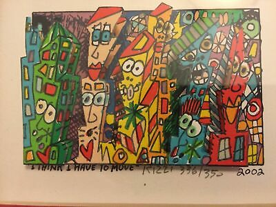 James Rizzi 3D I Think I Have To Move Signed Numbered Framed 2002 Serigraph