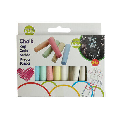24 x COLOURED CHALK STICKS Blackboard Menu Art Kids Childrens Art Craft Colour