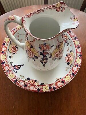 Edwardian Transfer And Hand Painted Jug And Bowl Set
