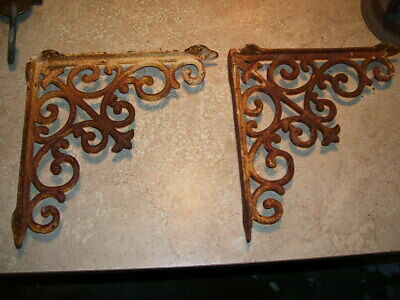 Pair Antique Victorian House Cast Iron Corbels Wall or Shelf Brackets