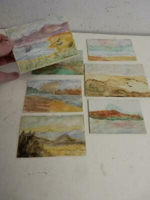vintage old PAINTING water colour miniatures 7 in LOT