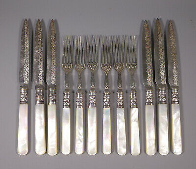 Antique Silver Plated And Mop Fruit Knife And Fork Set No Box