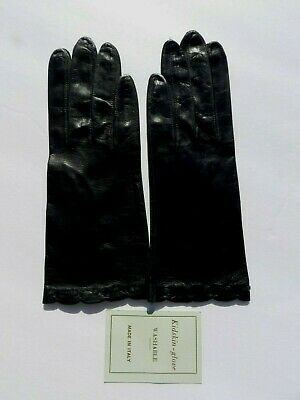 New Gorgeous & Classy Pair Black Leather Kidskin gloves glove~ITALIAN S.Med/SML