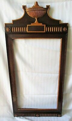 """VINTAGE MAHOGANY MIRROR PICTURE FRAME CARVED URN CREST  no glass 19 1/2"""" x 42"""""""