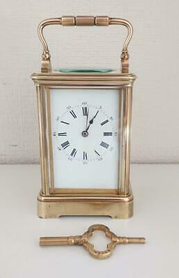 Antique Vintage Drocourt (Paris)  Brass Striking Carriage Clock Enamel Dial  A/F