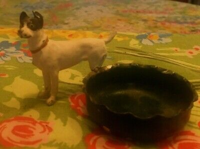 Vintage Ashtray or Pin Tray with Smooth Wire Fox Dog