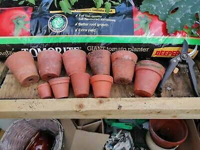 10 vintage small  and tiny terracotta gardeners plant pots