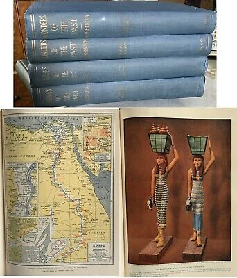 Set 4 WONDERS OF THE PAST 1500 Illus. Color Ancient Egypt Mystical Sites+ 1933