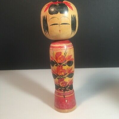"Japanese Vintage Wooden Kokeshi Doll Stamped ~ 7 1/2"" Hand Painted Oriental Peg"