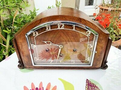 Restored Stunning Oak/Walnut HAC Art-Deco Westminster Chiming 8-day Mantle Clock