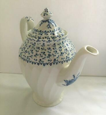 Vintage 1992 Blue & White Porcelain Floral Coffee Pot Made in England